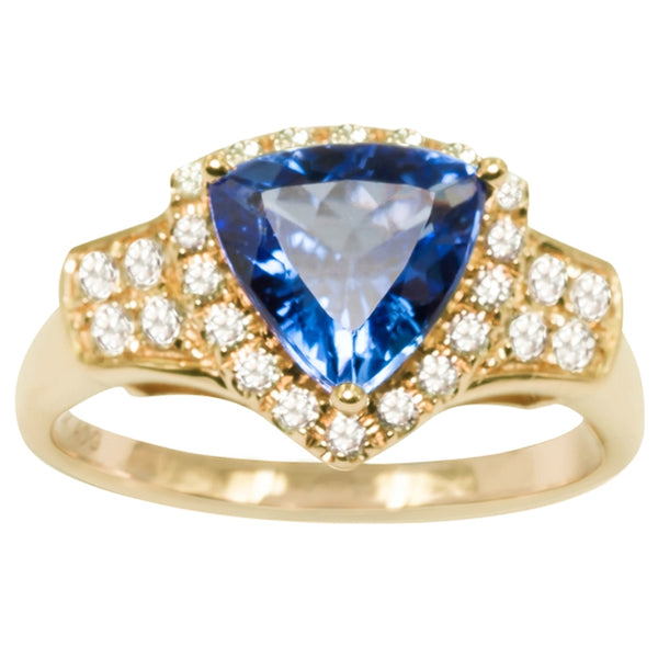 1ct Trillion Tanzanite Ring With .31ctw Diamonds in 14k Yellow Gold