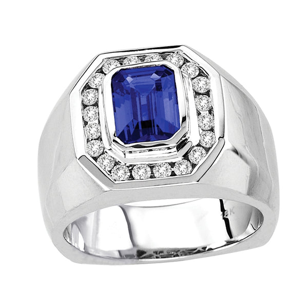 1.88ct Emerald Cut Tanzanite Men's Ring With .47ctw Diamonds in 14k White Gold