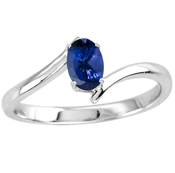 0.40ct Oval Tanzanite Solitaire Ring in 14k White Gold