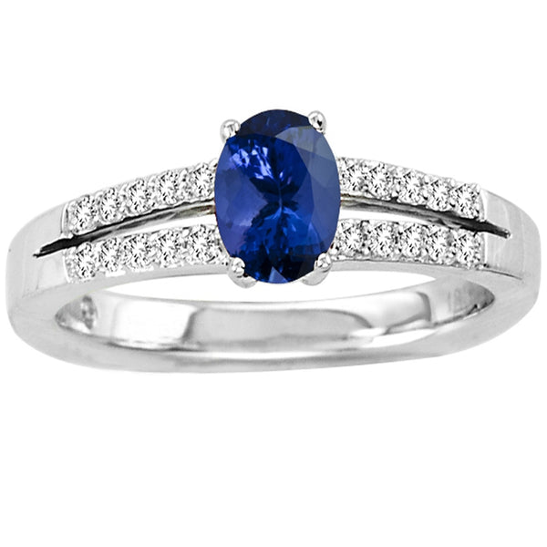 0.40ct Oval Tanzanite Ring With 0.14ctw Diamonds in 14k White Gold
