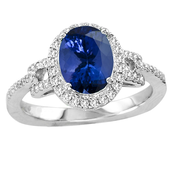1.55ct Oval Tanzanite Ring With 0.26ctw Diamonds in 14k White Gold