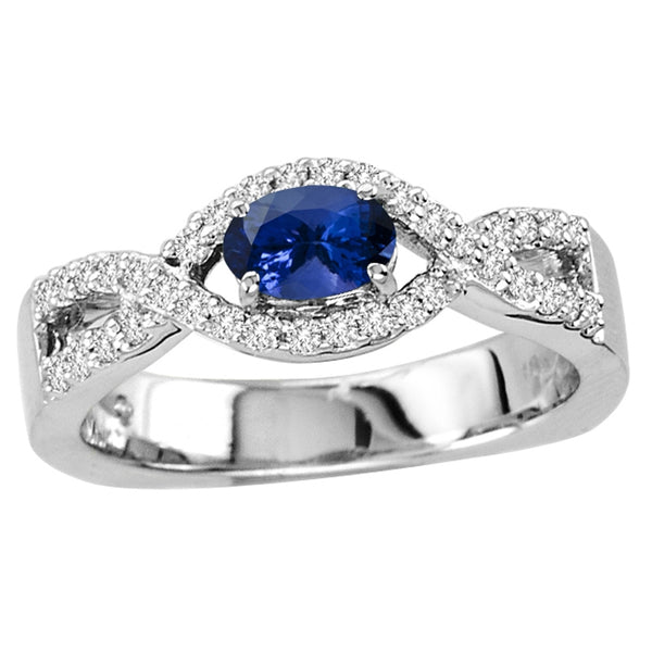 0.40ct Oval Tanzanite Ring With 0.24ctw Diamonds in 14k White Gold