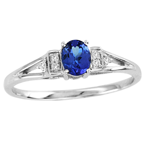 0.22ct Oval Tanzanite Ring With 0.02ctw Diamonds in 14k White Gold
