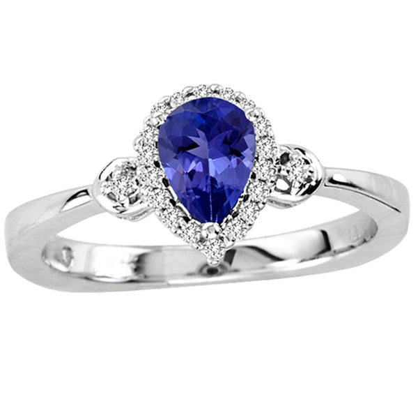 0.55ct Pear Tanzanite Ring With 0.09ctw Diamonds in 14k White Gold