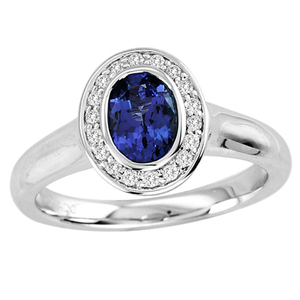 0.68ct Oval Tanzanite Ring With 0.13ctw Diamonds in 14k White Gold