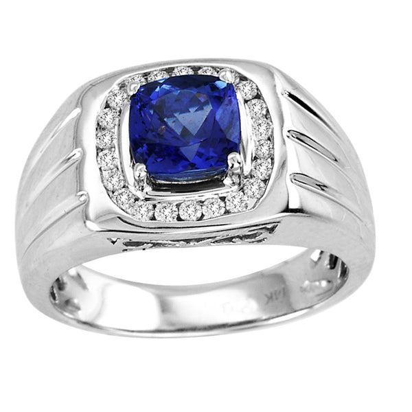 1.15ct Cushion Tanzanite Men's Ring with .2ctw Diamonds in 14k White Gold