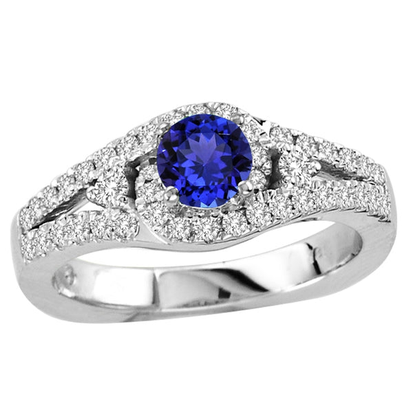 0.50ct Round Shape Tanzanite Ring With 0.42ctw Diamonds in 14k White Gold