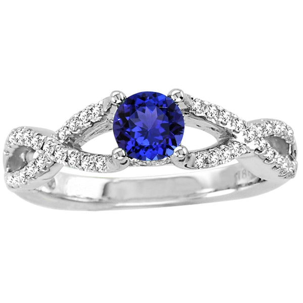 0.45ct Round Tanzanite Ring With 0.22ctw Diamonds in 14k White Gold