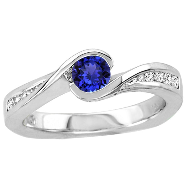 0.30ct Round Tanzanite Ring With 0.15ctw Diamonds in 14k White Gold