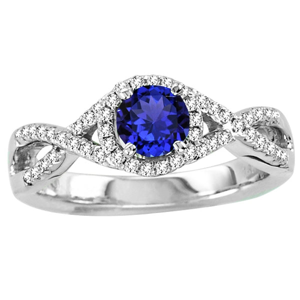 0.55ct Round Tanzanite Ring With 0.21ctw Diamonds in 14k White Gold