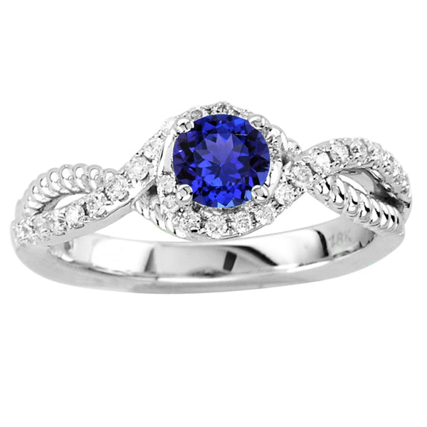 0.45ct Round Tanzanite Ring With 0.225ctw Diamonds in 14k White Gold