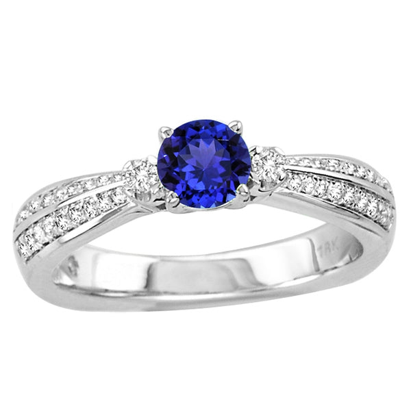 0.45ct Round Tanzanite Ring With 0.18ctw Diamonds in 14k White Gold
