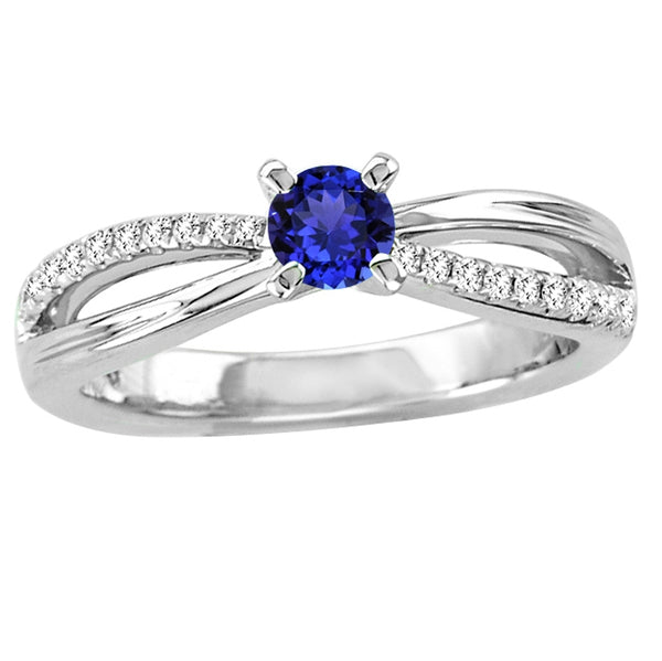 0.30ct Round Tanzanite Ring With 0.14ctw Diamonds in 14k White Gold