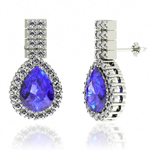 1.9ctw Pear Tanzanite Earring With 0.67ctw Diamonds in 14k White Gold