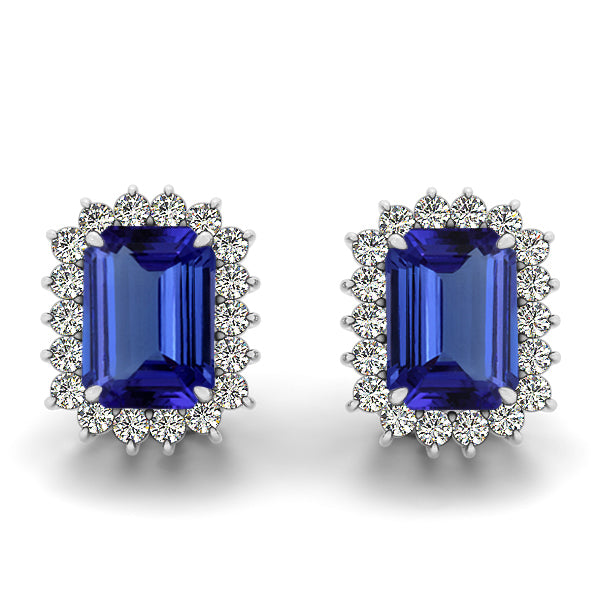 1.6ctw Emerald Cut Tanzanite Earring With 0.36ctw Diaomnds in 14k White Gold