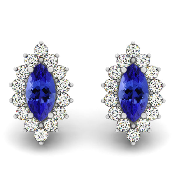 0.44cts Marquise Tanzanite Earring With 0.28ctw Diamonds in 14k White Gold