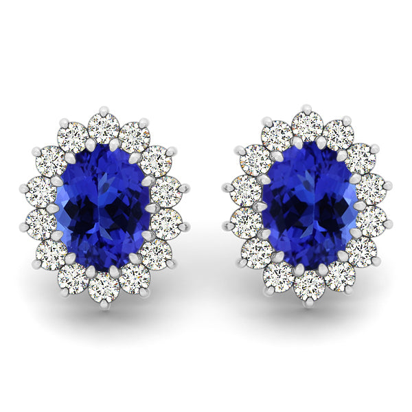 1.36ctw Oval Tanzanite Earring With 0.56ctw Diamonds in 14k White Gold