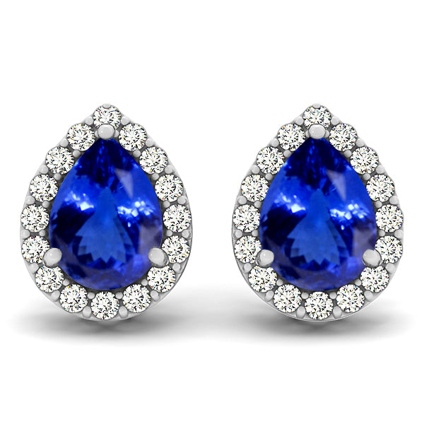 1.1cts Pear Tanzanite Earring With 0.256ctw Diamonds in 14K White Gold