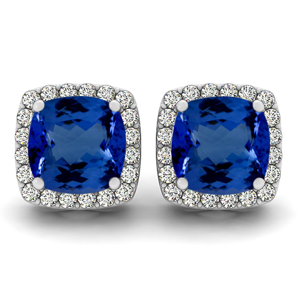 0.90ctw Cushion Tanzanite Earring With 0.32ctw Diamonds in 14K White Gold