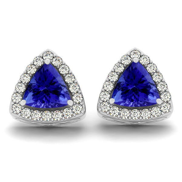 1.2ctw Trillion Tanzanite Earring With 0.28ctw Diamonds in 14K White Gold