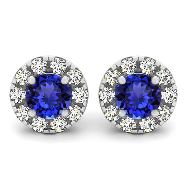 1.56ctw Round Tanzanite Earring With 0.2ctw Diamonds in 14k White Gold
