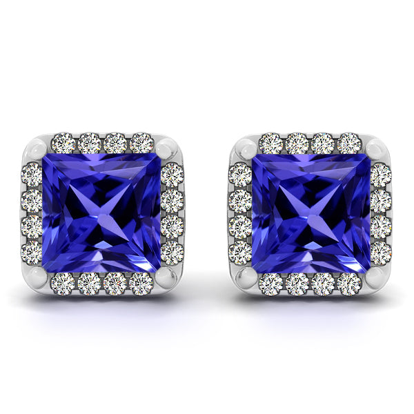 0.60ctw Princess Tanzanite Earring With 0.16ctw Diamonds in 14k White Gold