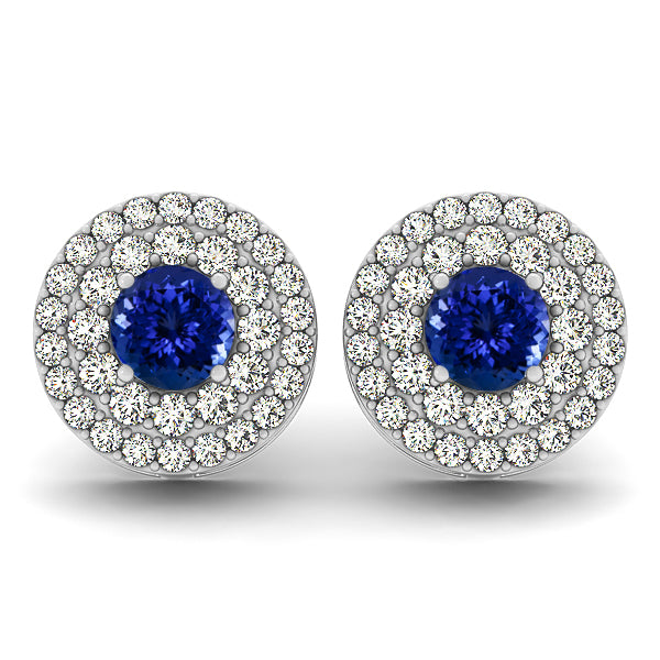 1.56ctw Round Tanzanite Earring With .92ctw Diamonds in 14k White Gold