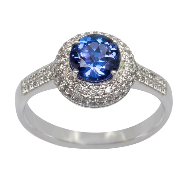 0.96ct Round Shape Tanzanite Ring With 0.46ctw Diamonds in 14k White Gold