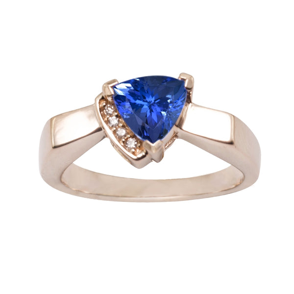 0.90ct Trillion Shape Tanzanite Ring With 0.02ctw Diamonds in 14k Yellow Gold