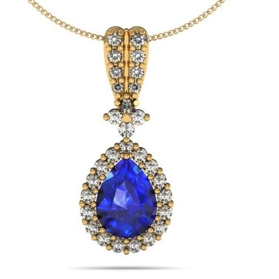0.95ct Pear Tanzanite Pendant With 0.43ctw Diamonds in 14k Yellow Gold