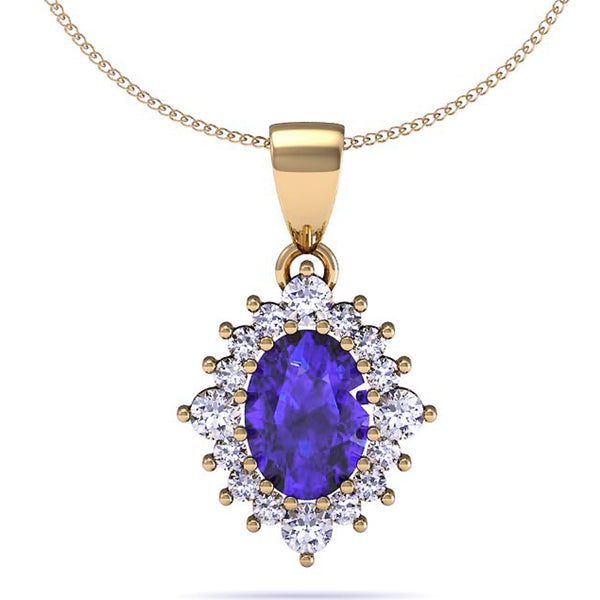 1.25ct Oval Tanzanite Pendant With .48ctw Diamonds in 14k Yellow Gold