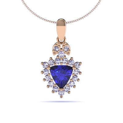 1.00ct Trillion Tanzanite Pendant With .43ctw Diamonds in 14k Yellow Gold