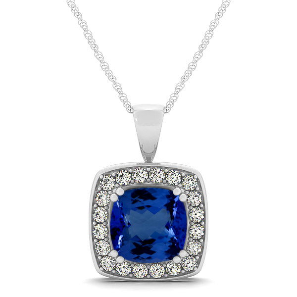 1.40ct Cushion Tanzanite Pendant With .2ctw Diamonds in 14k White Gold