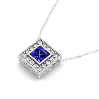 0.80ct Princess Cut Tanzanite Pendant With 0.40ctw Diamonds in 14k White Gold