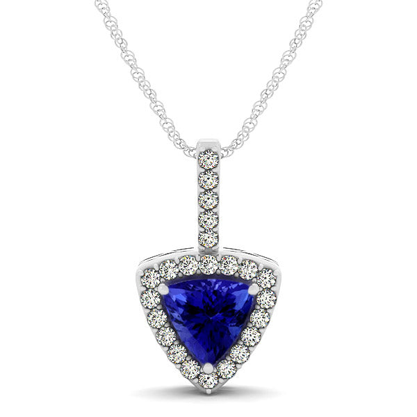 0.60ct Trillion Tanzanite Pendant With 0.184ctw Diamonds in 14k white Gold