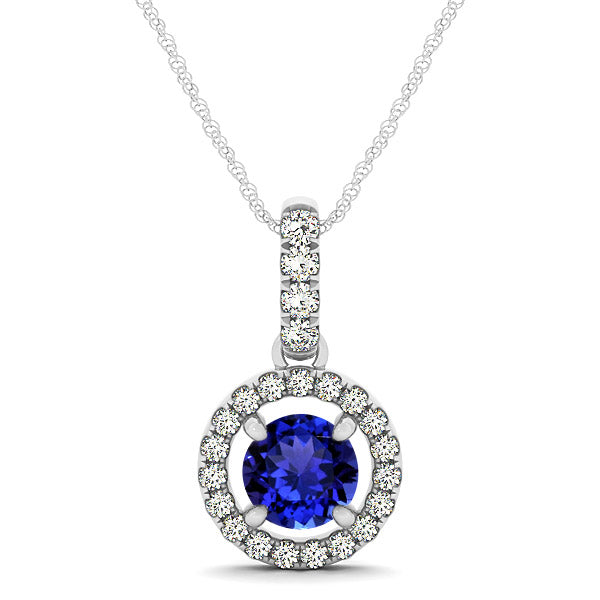 0.78ct Round Tanzanite Pendant in With 0.28ctw Diamonds in 14k White Gold
