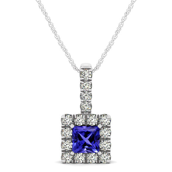 0.40ct Princess Tanzanite Pendant With 0.24ctw Diamonds in 14k White Gold