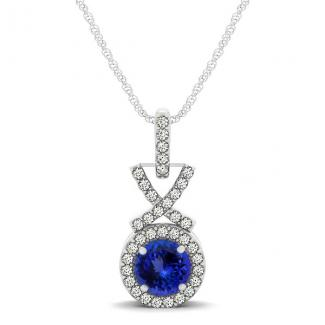 0.78ct Round Tanzanite Pendant With 0.18ctw Diamonds in 14k White Gold