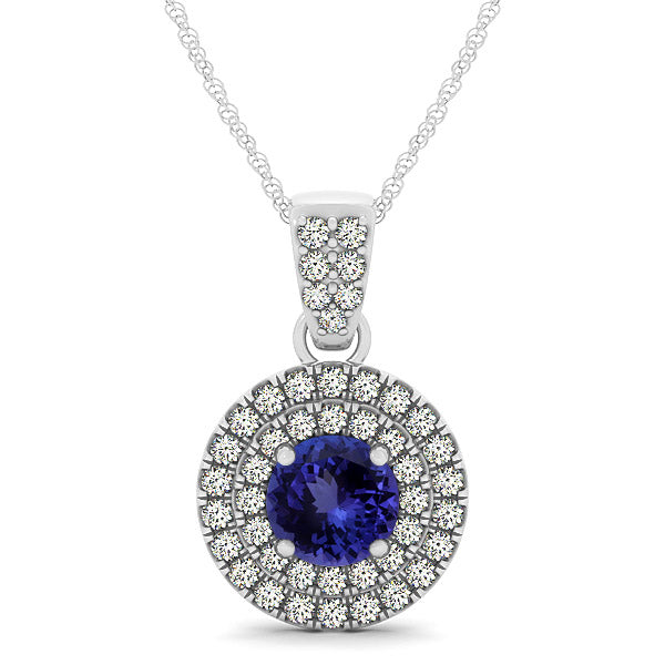 0.78ct Round Tanzanite Pendant With 0.311ctw Diamonds in 14k White Gold