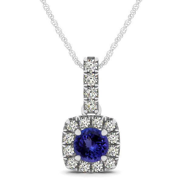 0.78ct Round Tanzanite Pendant With 0.16ctw Diamonds in 14k White Gold