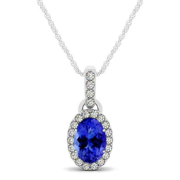 0.68ct Oval Tanzanite Pendant With 0.184ctw Diamonds in 14k White Gold