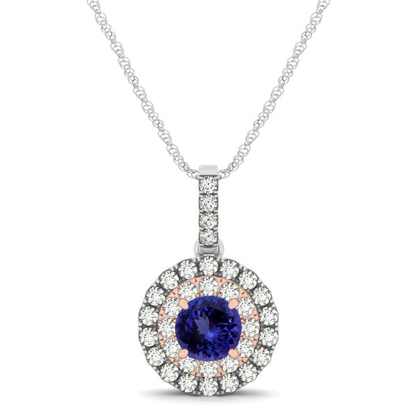 0.78ct Round Tanzanite Pendant With 0.28ctw Diamonds in 14k White Gold