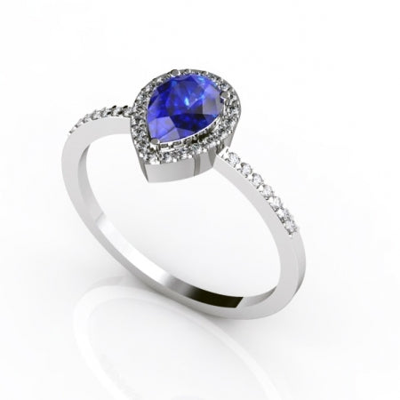 0.55ct Pear Tanzanite Ring With 0.17ctw Diamonds in 14k White Gold