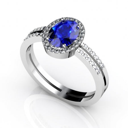 0.68ct Oval Tanzanite Ring With 0.24ctw Diamonds in 14k White Gold