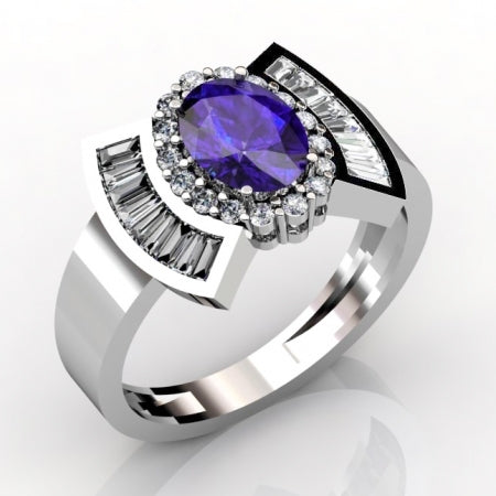 1.12ct Oval Tanzanite Ring With 0.64ctw Diamonds in 14k White Gold