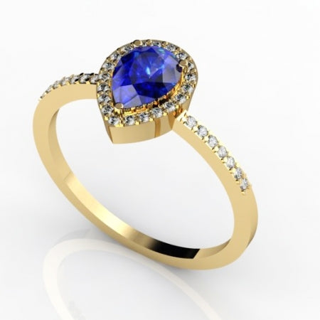 0.60ct Pear Tanzanite Ring With 0.16ctw Diamonds in 14k Yellow Gold