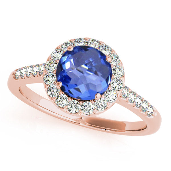 0.78ct Round Tanzanite Ring With 0.38ctw Diamonds in 14k Rose Gold