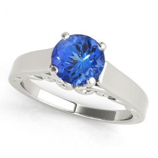 0.78ct Round Tanzanite Solitaire Ring in 14k White Gold