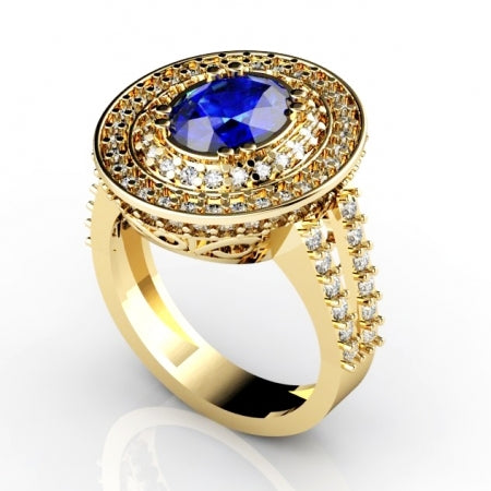 1.8ct Oval Tanzanite Ring With 0.99ctw Diamonds in 14k Yellow Gold