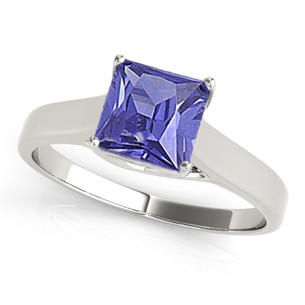 0.78ct Princess Tanzanite Solitaire Ring in 14k White Gold